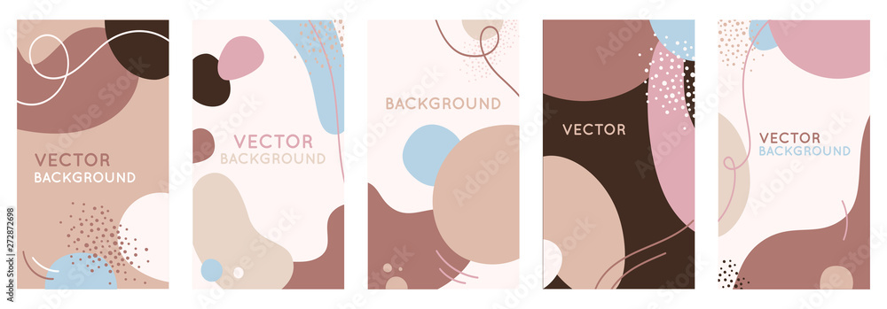 Fototapety, obrazy: Vector set of abstract creative backgrounds in minimal trendy style with copy space for text - design templates for social media stories and bloggers