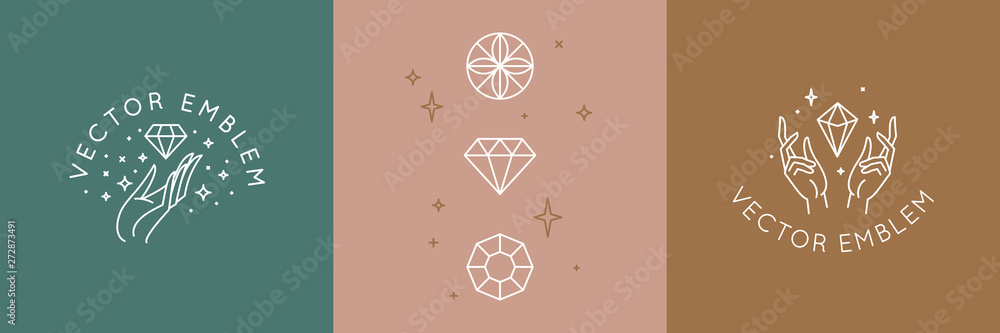 Fototapeta Vector abstract logo design template in trendy linear minimal style - hands and diamond - abstract symbol for cosmetics and packaging, jewellery, hand crafted  or beauty products