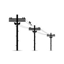 Pole With High Voltage Power L...