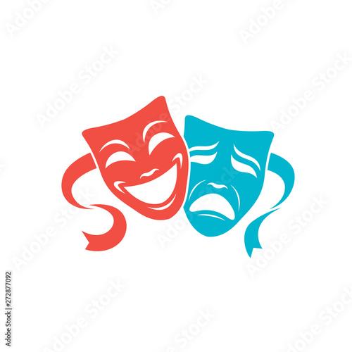 Obraz na plátně illustration of comedy and tragedy theatrical masks isolated