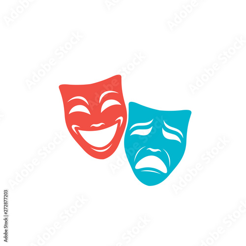Fotografía illustration of comedy and tragedy theatrical masks isolated