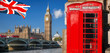 London symbols with BIG BEN, DOUBLE DECKER BUS, FLAG and Red Phone Booths in England, UK
