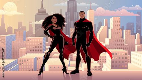 Obraz na plátně Superhero Couple Black City Day