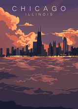 Chicago Skyline Poster. United States, Illinois Sunset In Chicago City Vector Illustration.