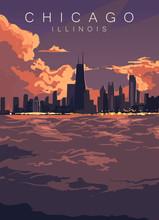 Chicago Skyline Poster. United...
