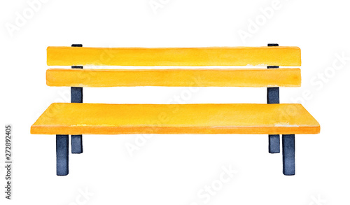 Photo Bright yellow wooden bench