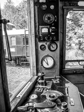View On The Control Panel Of A Retro Train In Szentendre
