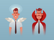 Funny Office Worker From Heaven And Hell. Cartoon Style. Vector Illustration