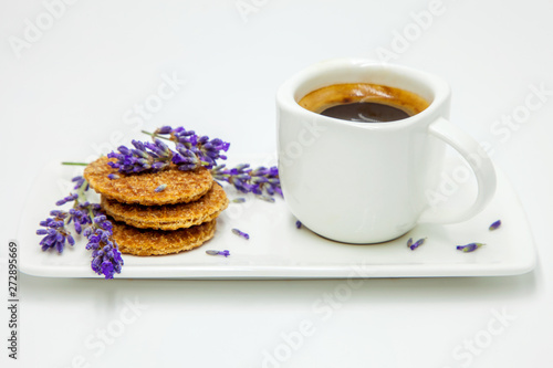 Canvas Prints Lavender Morning cup of coffee and sweets and lavander decoration