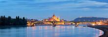 Panorama Of Danube River, Hungarian Parliament At Night