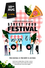 Street Food Festival Poster Or Banner Design Template. Summer Weekend And Events Outdoor Leisure. Vector Illustration.