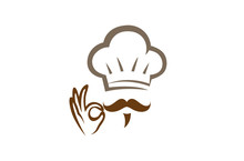 Creative Chef Hand Sign Logo Design Vector Symbol Illustration