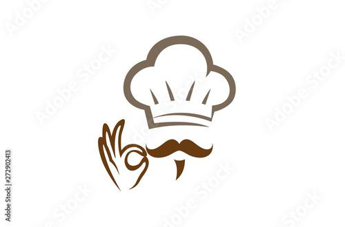 Creative Chef Hand Sign Logo Design Vector Symbol Illustration Canvas Print