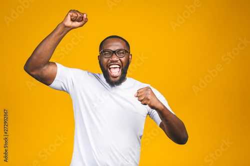 Portrait of excited young African American male screaming in shock and amazement Wallpaper Mural