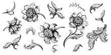 Flower Vintage Scroll Baroque ...