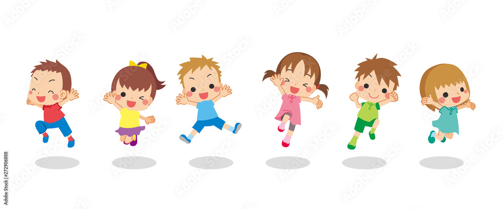 Fototapeta 元気にジャンプする夏の子供たち
