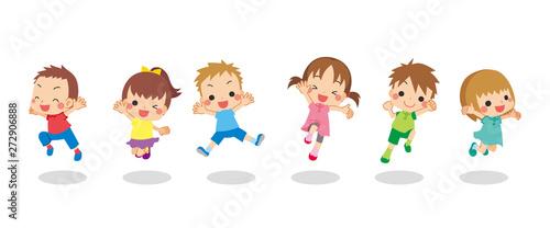 Obraz 元気にジャンプする夏の子供たち - fototapety do salonu