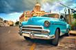 canvas print picture - HAVANA, CUBA- JUN 7, 2016: old classic american car parked on the street of havana city