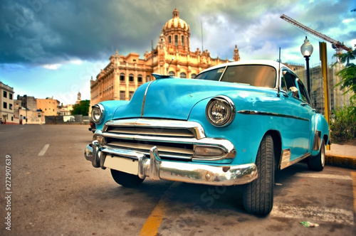 HAVANA, CUBA- JUN 7, 2016: old classic american car parked on the street of hava Canvas Print