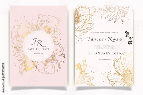 Rose Gold  Wedding Invitation, floral invite thank you, rsvp modern card Design in white Peony with red berry and leaf greenery  branches decorative Vector elegant rustic template - 272910893