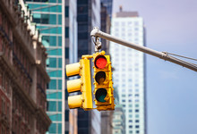 Red Traffic Lights For Cars, Blur Office Buildings Background