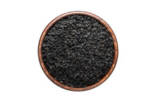 Nigella Or Black Cumin Seeds Spice In Wooden Bowl, Isolated On White Background. Seasoning Top View