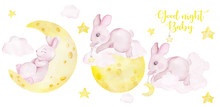 Cute Rabbit In The Moon And Clouds, Watercolor Hand Draw Animals Isolated On White Background
