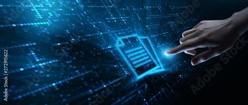 Fotomural Document Management Data System Business Technology Concept