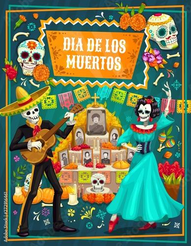 Slika na platnu Mexican Day of the Dead sugar skulls, skeletons