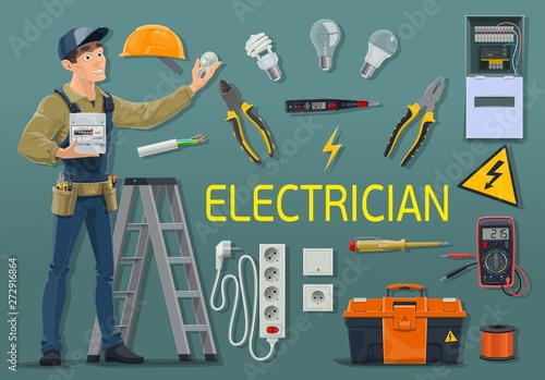 Fotografie, Obraz  Electrician with electricity meter and work tools
