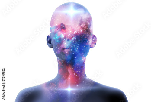 Leinwand Poster silhouette of virtual human with aura chakras on space nebula 3d illustration