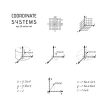 System Of Coordinates - Vector Icon Set.