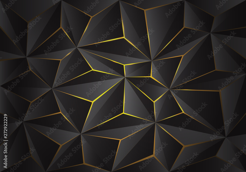 Fototapety, obrazy: Abstract grey 3D triangle polygon pattern crack on yellow light design modern futuristic background texture vector illustration.