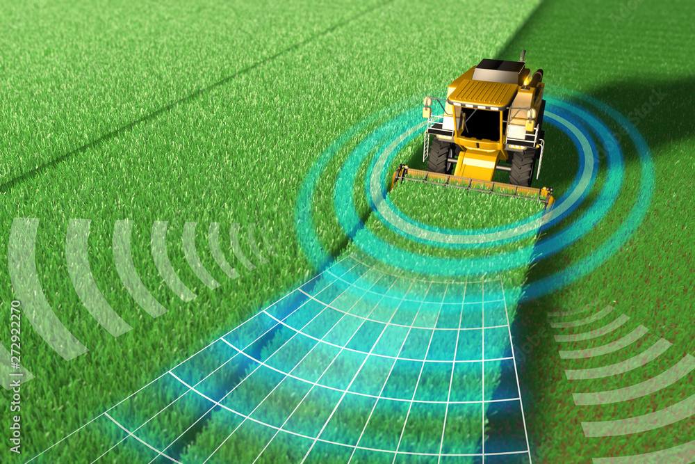 Fototapeta Industrial 3D illustration of Self driving, unmanned, autonomous rye harvester working in field - agriculture equipment future concept