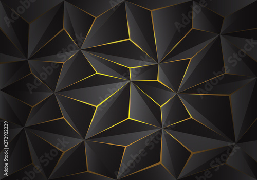 Abstract grey 3D triangle polygon pattern crack on yellow light design modern futuristic background texture vector illustration. - 272922229