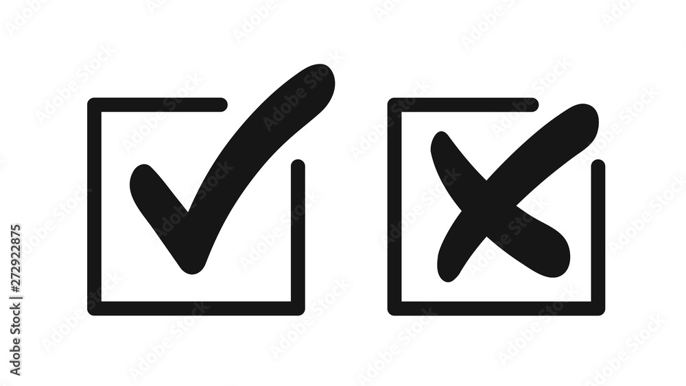 Fototapety, obrazy: Bold check mark and cross isolated on white background. Mark of confirmation and rejection.