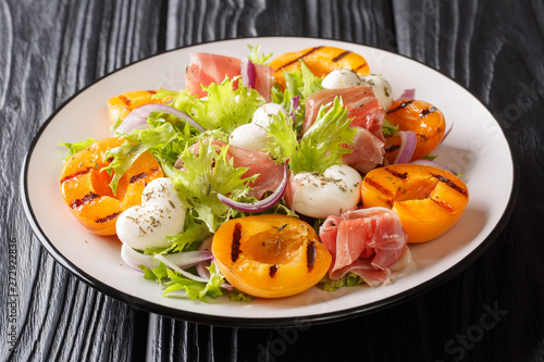 obraz dibond Easy recipe for summer salad with mozzarella cheese, prosciutto, grilled apricots, red onions and leaf lettuce close-up. horizontal