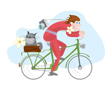 Cheerful Man And A Cat On A Bike Traveling. Joint Bike Ride In Summer