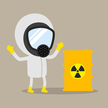 Nuclear Waste Management, Safety And Accident, Industrial Safety Cartoon, Vector Illustration