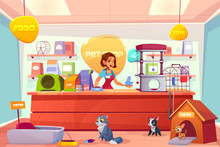 Modern Pet Shop Interior Cartoon Vector Concept. Happy Smiling Female Salesperson In Apron, Standing Behind Counter With Goods, Holding Parrot On Hand, Cats And Dogs Playing Toys On Floor Illustration
