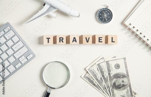 obraz PCV Word travel on wooden cubes. Travel