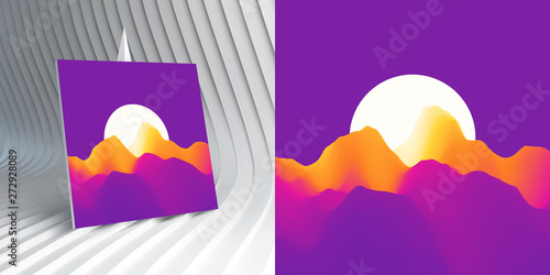 Poster Prune Violet night sky and the light of the full moon. Mountainous terrain. Abstract background. Vector illustration.