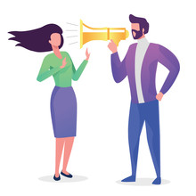 The Man Yelling At A Woman In The Mouthpiece. Criticism. Flat Vector Concept Illustration.