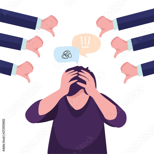 Fotografija  Vector illustration business concept designed as a man kneeling and others pointing at him