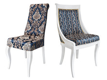 Two Vintage White Wooden Chairs With Blue And Gold Upholstery