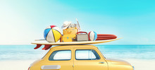 Small Retro Car With Baggage, Luggage And Beach Equipment On The Roof, Fully Packed, Ready For Summer Vacation, Concept Of A Road Trip With Family And Friends, Dream Destination, Very Vivid Colors