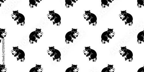 cat seamless pattern vector kitten hug fish scarf isolated cartoon tile wallpaper repeat background illustration design