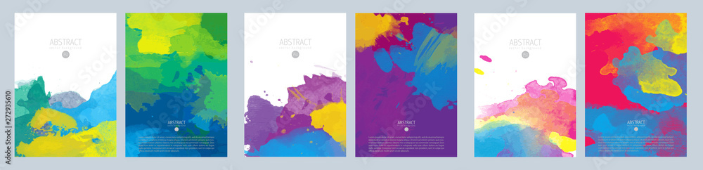 Fototapety, obrazy: Bright colorful vector paint splash background template set for brochure, poster or flyer
