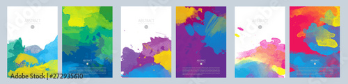 Foto auf Leinwand Formen Bright colorful vector paint splash background template set for brochure, poster or flyer