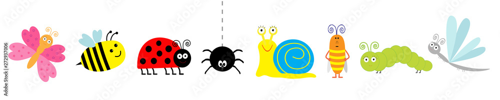 Fototapeta Cute cartoon insect set line. Ladybug, ladybird, bee, dragonfly, butterfly, caterpillar, spider, cockroach, snail. White background Isolated.